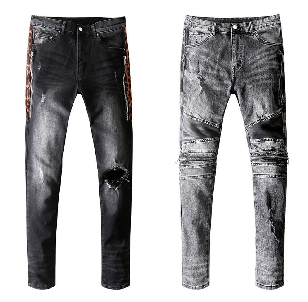 Мужские дизайнерские джинсы проблемные джинсы с отверстием на молнии высокое качество повседневные джинсы мужские узкие байкерские брюки синий 20SS размер 28-40