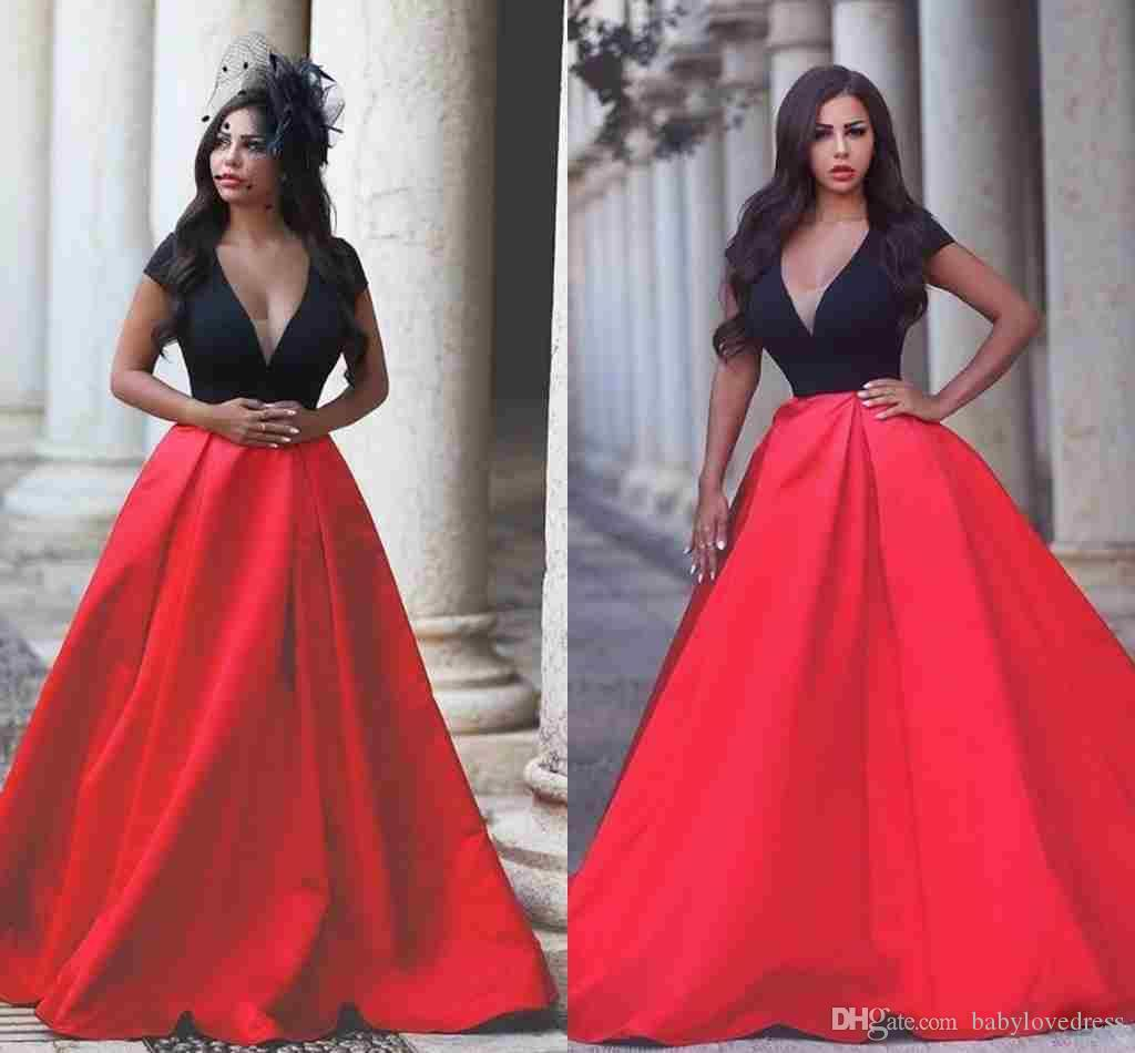 Sexy V-neck Black And Red Long Evening Gowns 2019 Luxury Satin Arabic Prom Dresses Backless Couture Dresses Plus Size Red Carpet Gowns