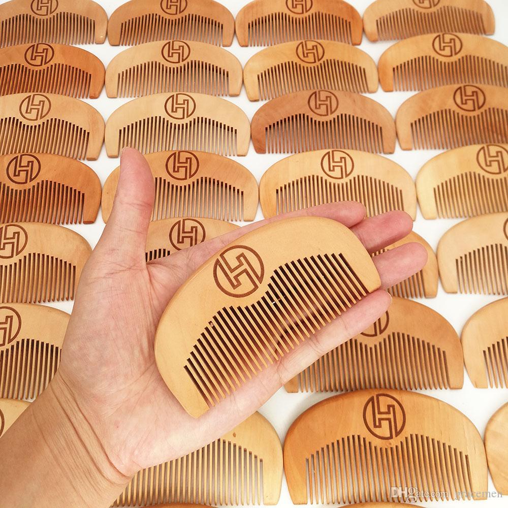 MOQ personnalisés Votre logo en bois Peigne Barbe peigne en bois haut de gamme Pear Brosse à cheveux Amazon Hot Vente sur mesure Barber peigne Combs Pocket