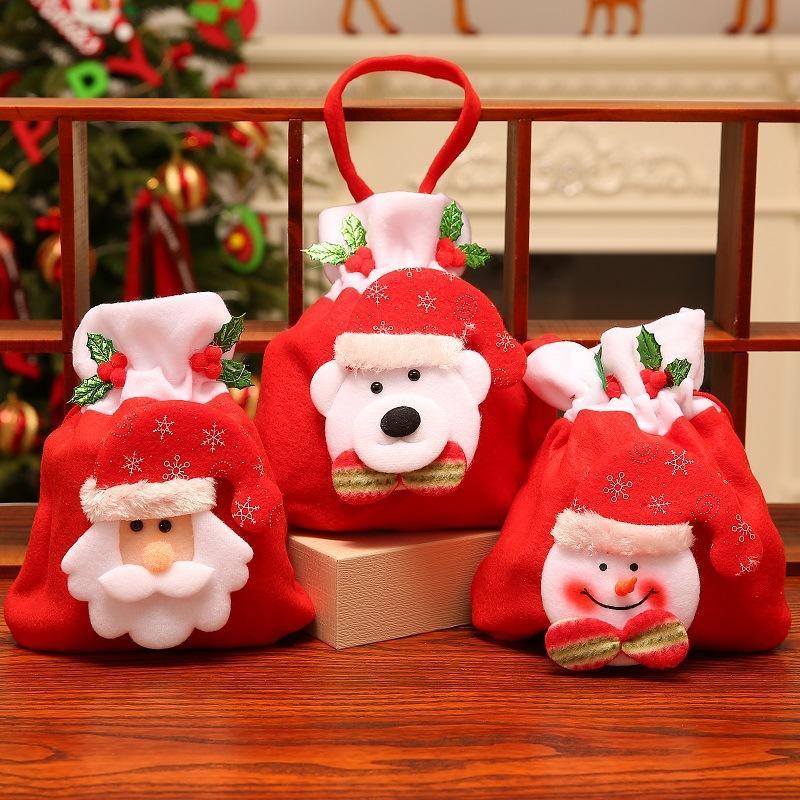 عيد الميلاد أبل هدية حقيبة الفانيلا كاندي حقيبة الكرتون الرباط حقيبة عيد الميلاد سانتا كلوز ثلج الدب المحمولة هدية الحقيبة DBC VT1061