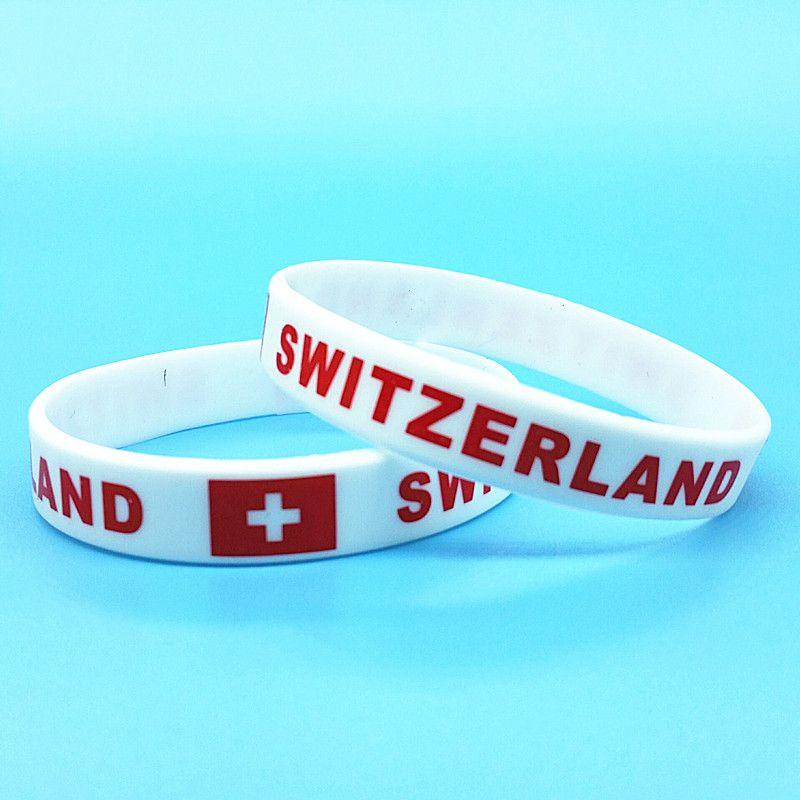 1000pcs İsviçre Bayrağı Kauçuk Spor Bileklik Erkekler Hologram Bileklikler Ülke Logo Silikon Bilek Kayışı Bileklik Aksesuarları