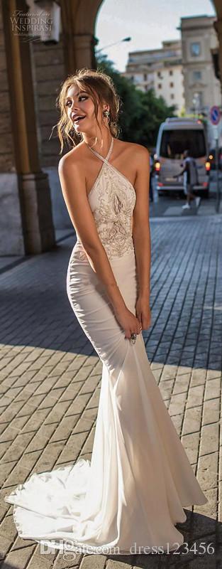 2019 새로운 우아한 칼집 인어 댄스 파티 드레스 신부 민소매 고삐 목은 심하게 몸통 댄스 파티 드레스를 치장