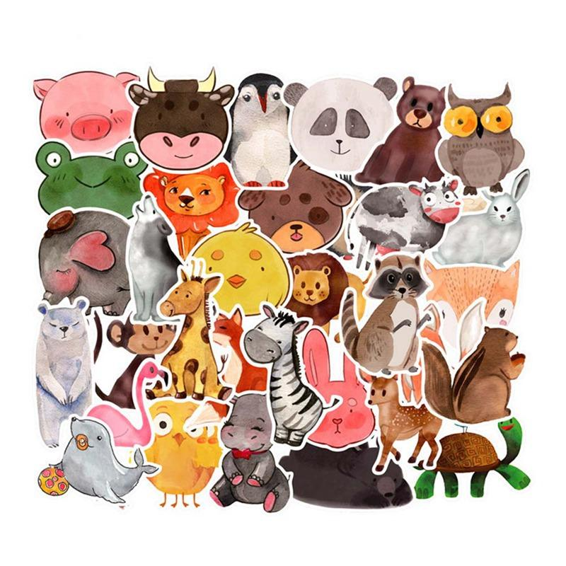 50Sheets/Set Waterproof Super Cute Cartoon Animal Stickers For Car Laptop Phone Pad Bicycle Decal Kids Gift Cat Pig Dog