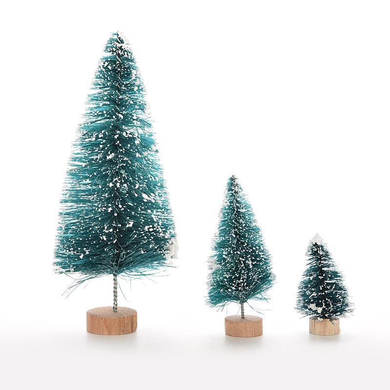 1 Adet Küçük DIY Noel ağacı Sahte Çam Ağacı Mini Noel Santa Kar Frost Köy Evi