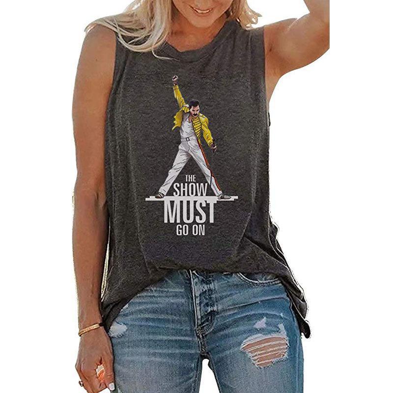 C5190 Estate Donna Lettera maglietta The Show Must Go On Stampato Vest Lady Casual maniche Tshirt Grigio
