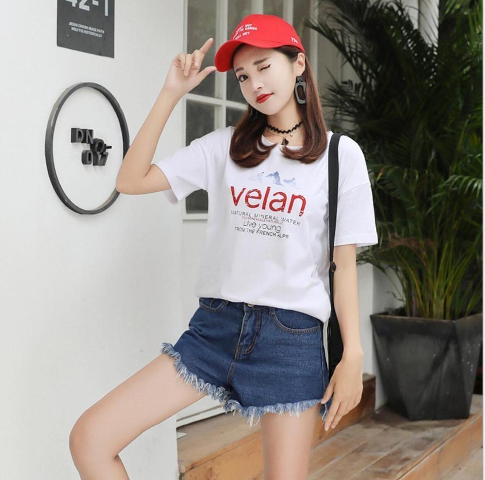 Moda Lettera Stampa T-shirt top a manica corta bianca T casuali per Lady T200110