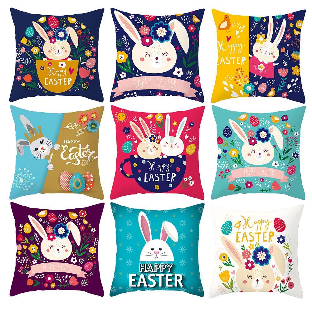 Joyeuses Pâques oeuf lapin de fleur Coussin Cartoon Couvre peinture à la main taies d'oreiller 44X44cm Sofa Chaise décor
