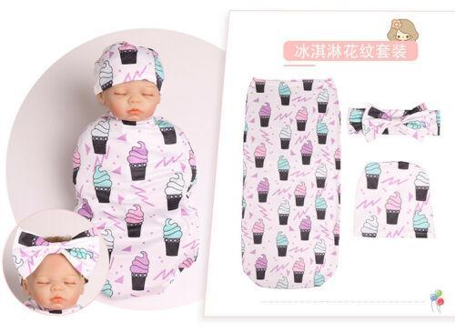 3PCS Moda Cute Baby Crianças Sleeping Bag US recém-nascido Blanket Headband Set Baby Boy menina de gavetas Cotton Sleeping Bag Enrole