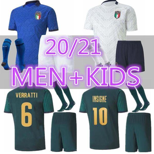 Erkekler + Çocuklar 2020 İtalya Futbol Formaları Erkek Futbol Üniforma Setleri 20 21 Italia Bonucci Insigne Jorginho Futbol Gömlek İtalyan Futbol Kitleri