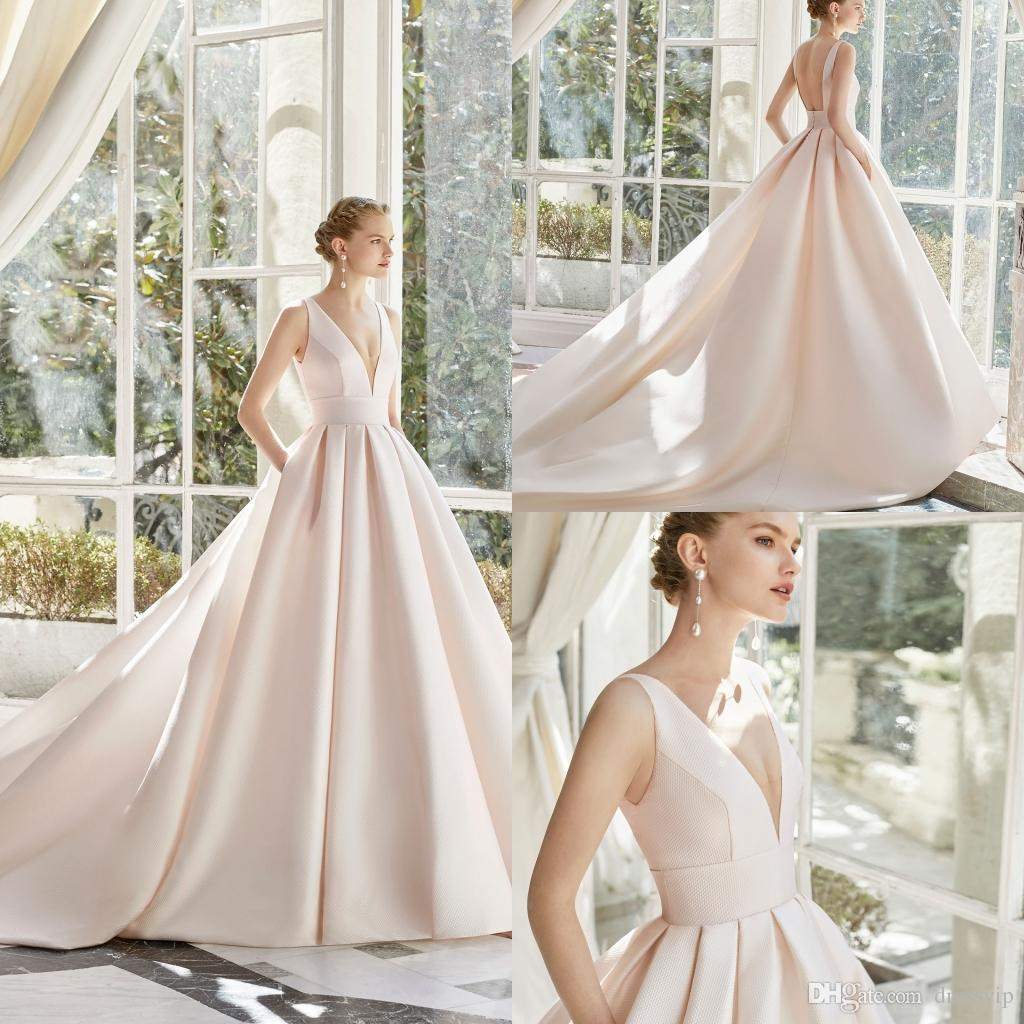 2019 A Line Satin Wedding Dresses With Pocket V Neck Sexy Backless Sweep Train Gorgeous Beach Wedding Dress Free Petticoat Bridal Gowns