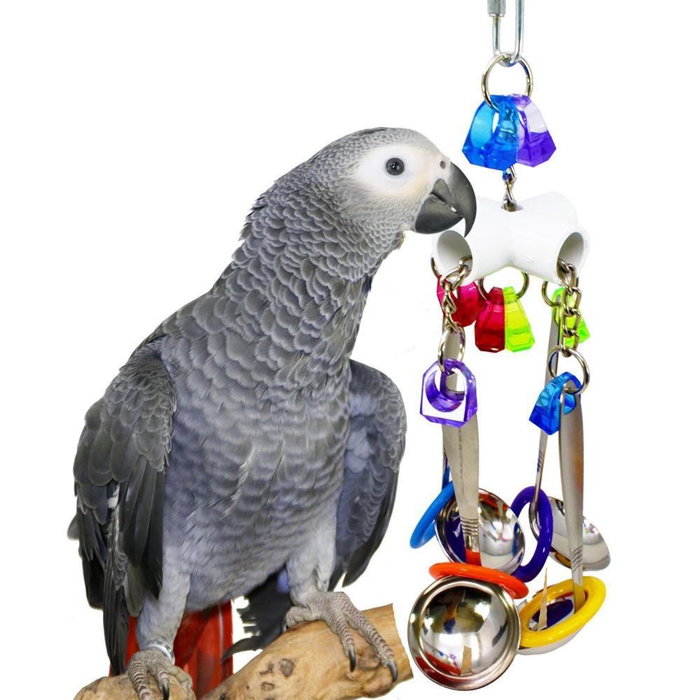 Jouets pour les oiseaux swing Parrot Cage Cuillère de Bell Climb Hanging Pet Parrot Jouets Cockatiel Perruche Morsures oiseaux Chew gros