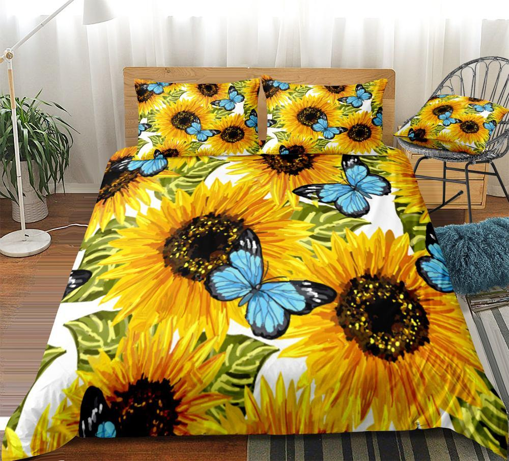 3-piece Sunflower Bedding set white background Bedclothes 3D Dropship Duvet cover set blue butterfly home textiles