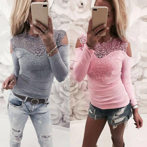 Neue Art und Weise Frauen-feste Spitze Kalte Schulter lange Hülsen-dünne Spitze T-Shirts Kurze Damen lässigen T-Shirt Tops Damen
