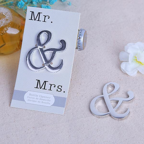 100PCS Metal Ampersand Bottle Opener MR MRS Wedding Favors Gift to Guest Party Supplies Wedding Decoration Retail Package