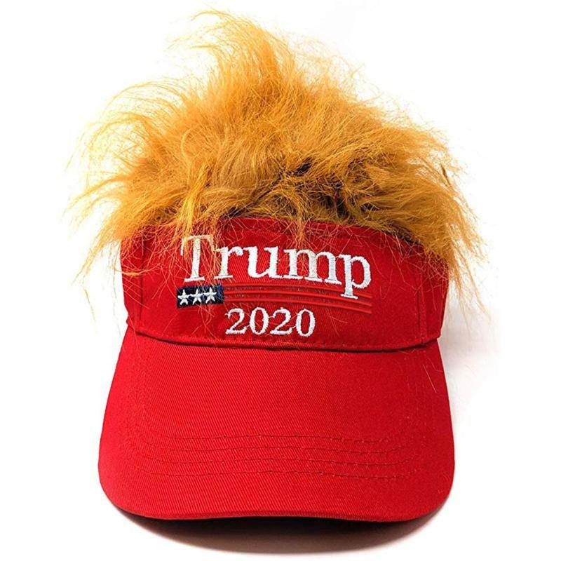 TRUMP arancione parrucca protezione della visiera di scherzo della novità del bavaglio rosso del regalo falso del cappello di pelliccia MAGA 2020 Ciclette