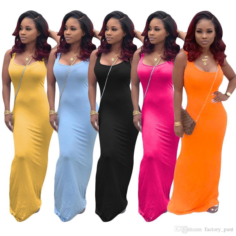 Spagetti Askı Maxi Elbise Kolsuz Kadınlar Yaz Casual Uzun Elbise Katı Renk Sıkı Elbise V yaka vestidos En Çok Satan