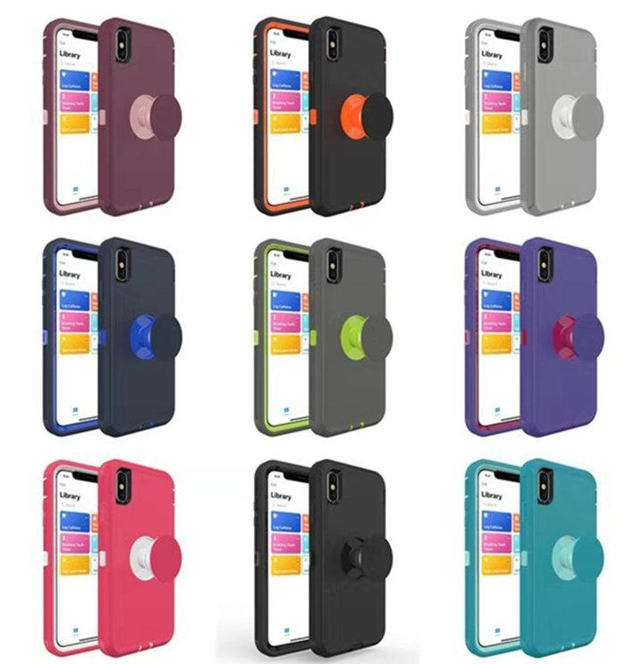 iPhone 12 11 XR X / XS MAX 7 8 Artı Vaka Ücretsiz Kargo Pop Tutucu Lüks Ağır Hizmet Darbeye Defender Kılıf