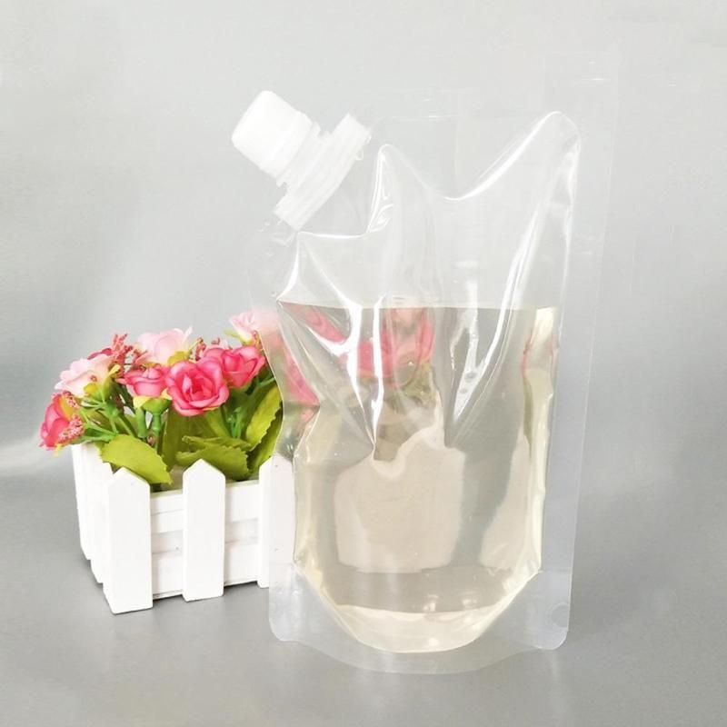 Bolsa de casamento suco de suco transparente bico bebida cerveja plástico up armazenamento 500ml para festa 12pcs saco saco com funnels 40p wharu