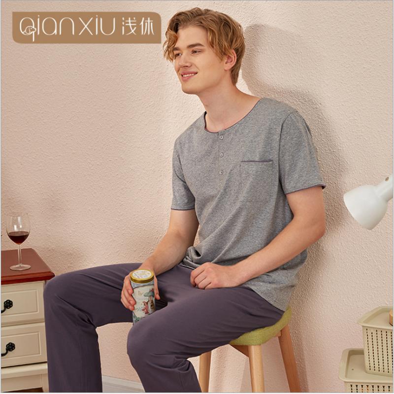 2020 Spring Summer Homewear Men Casual Pajama sets Male Cotton Sleepwear suit Men Short sleeve O-neck Collar t shirt & Pants
