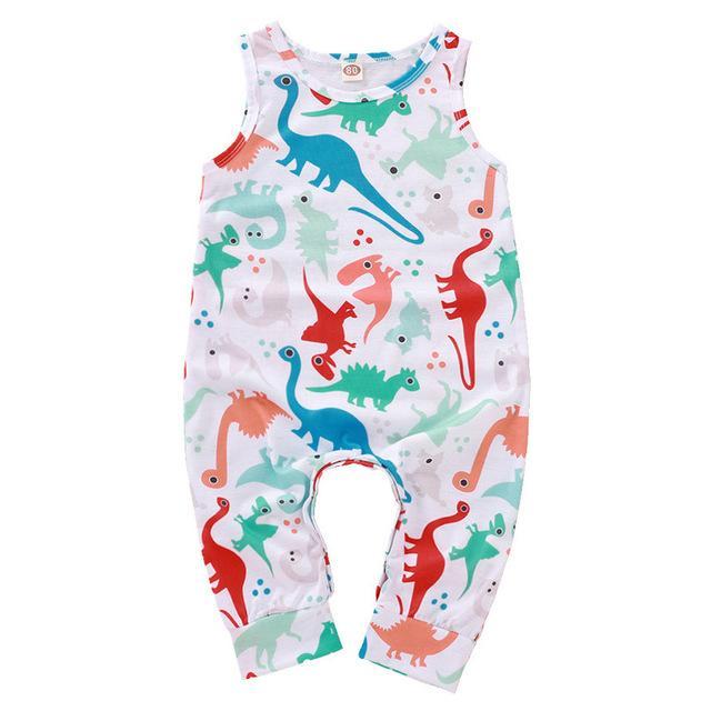 Bambino di colore dinosauro senza maniche con stampa tute di estate 2020 bambini boutique di abbigliamento 0-2T Bambino cotone ragazzi delle tute Crawl Abbigliamento
