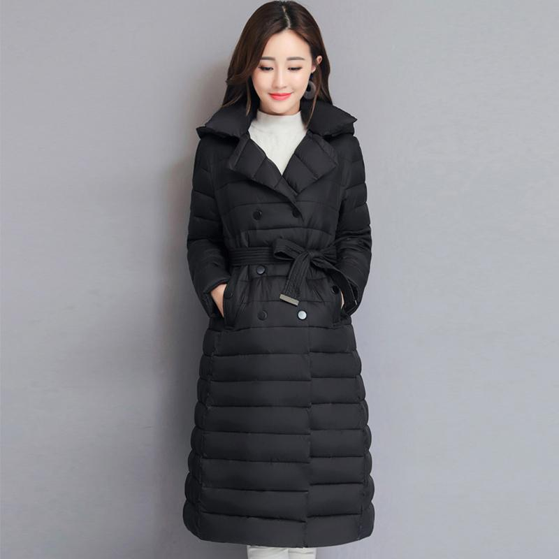 2019 Turn Down Collar Winter Jacket Women Padded Breasted Buttons Ladies Long Parka Outwear Warm Coat T200319