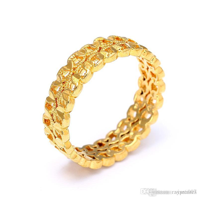 Fashion 18KGP Imitation Gold Ring Gold Pigment Circle Cut-out Ring Hand Washing without the Metal Non-Fading Series