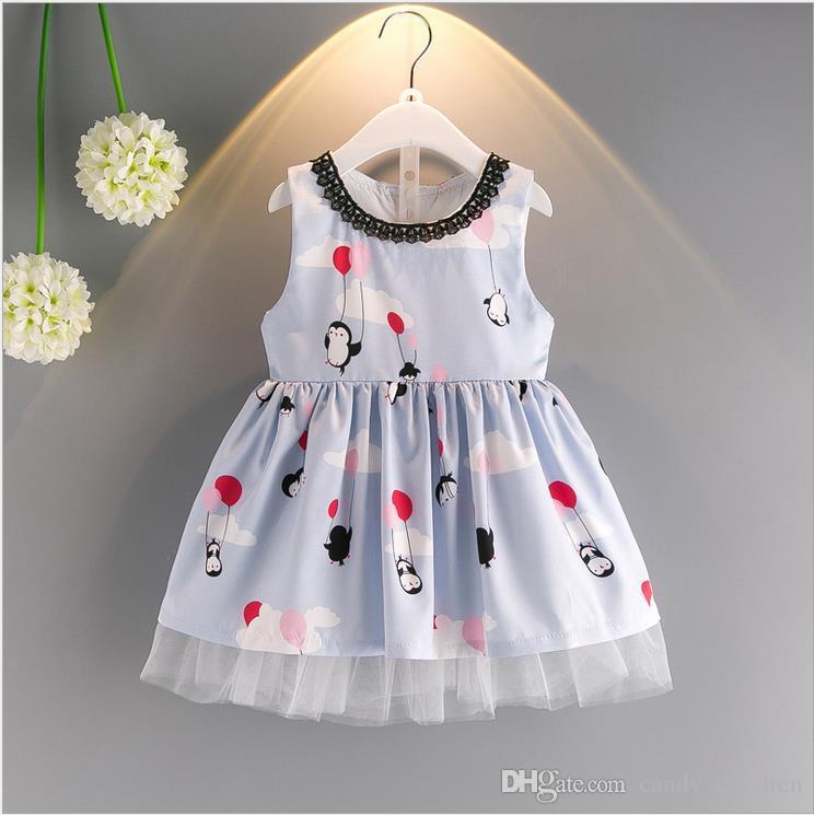 Baby Girls Dress Clothing Penguin Princess Little Girl Mesh Patchwork Outfits Dress Children Casual Dresses