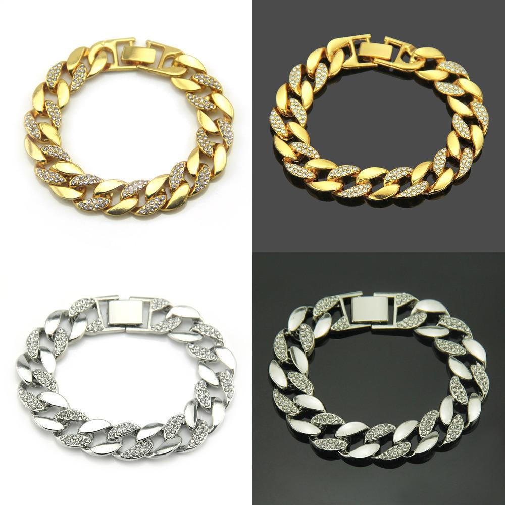 Rhinestone Bracelet Homem banhado a ouro cadeia pulseira Cuba clássico jóias de luxo jóia de cristal Gemstone casamento Belas