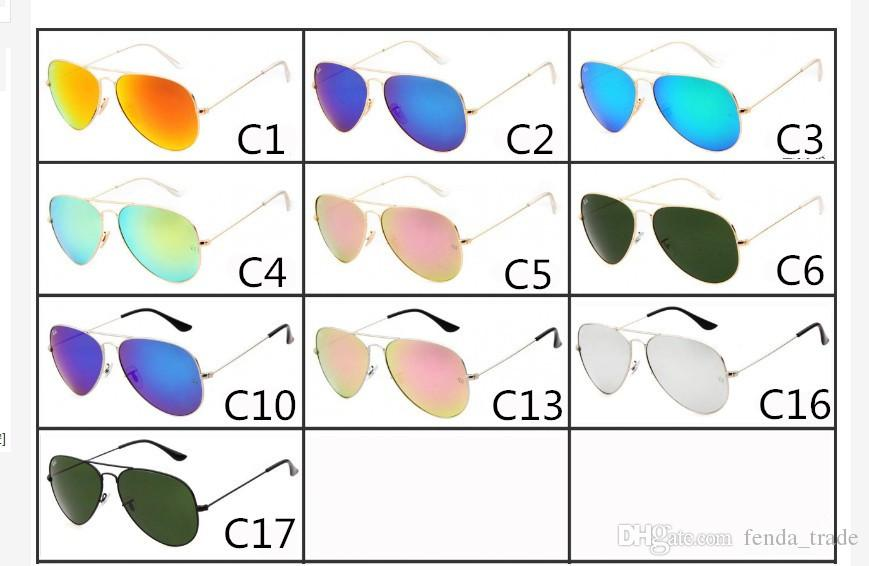New fashion Designer Classic Sunglasses Mens Womes Sun Glasses big frame Glass Lenses Large Metal frame High Quality colors 17 MOQ=10