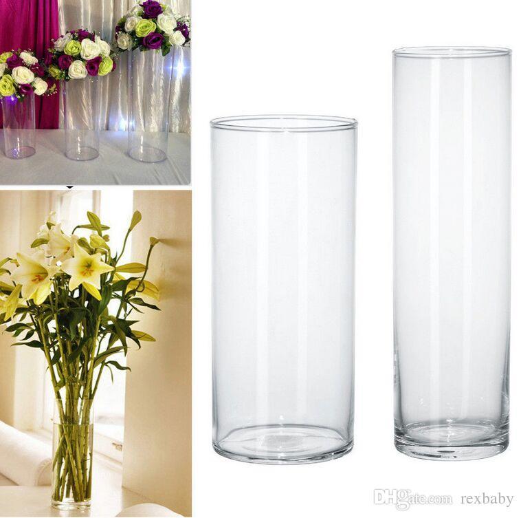 Plastic Clear Round Cylinder Vase Bottle Hanging Vase For Plant Flower Wedding Party Bedroom Living Room Office Home Decoration