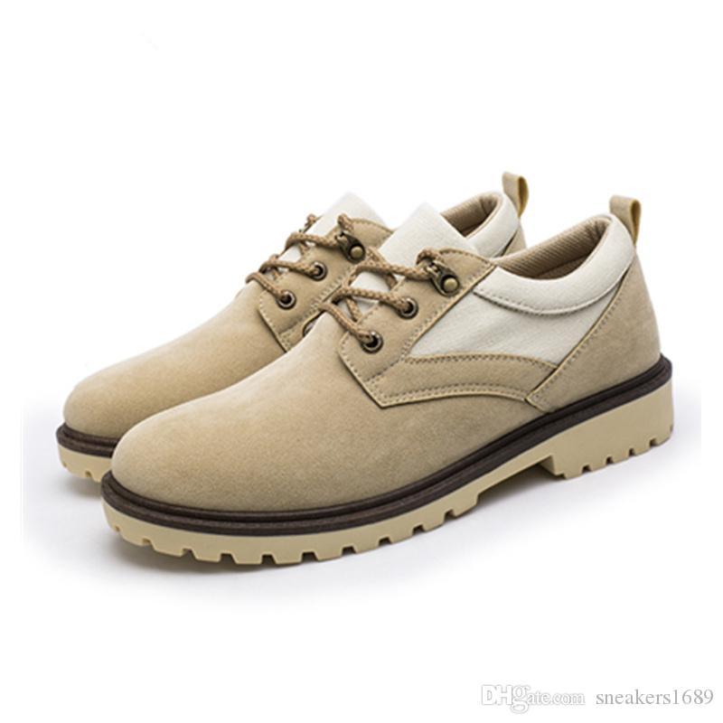 Fauxveloursleder der Qualitätsmänner beiläufige Schuhe 2019 neue britische Retro Art Großkopflederschuhe Armee-Grünschuhe X168