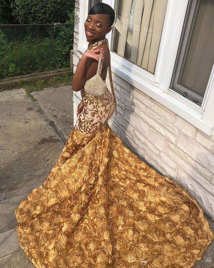 Sexy Halter Gold Black Girls Mermaid Prom Dresses 2020 Sequined Dubai Prom Gowns 3D Flowers Backless African Evening Dresses robe de soiree