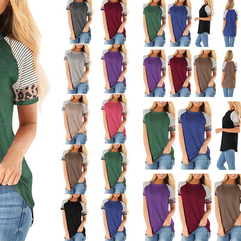 Sommer Pullover Top Sport Bluse Günstige Kleidung Frauen Tops Gestreiftes Leopard T-Shirt Kurzarm beiläufige Damen-T-S-3XL D21707