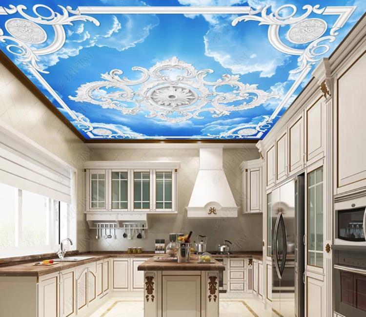 Europea cielo tallado de alambre de yeso blanco Photo fondo de pantalla 3D de techo de la sala Mural Hotel del tema de la cocina Decoración Papel