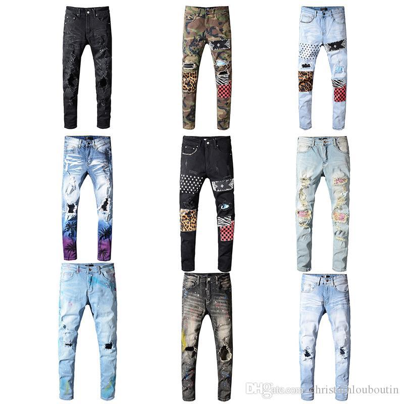Miri clásico al por mayor de Hip Hop de los pantalones vaqueros pantalones de diseño Aquaman delgadas para hombre recto motorista flacos Loophole Jeans Hombres Mujeres pantalones vaqueros rasgados