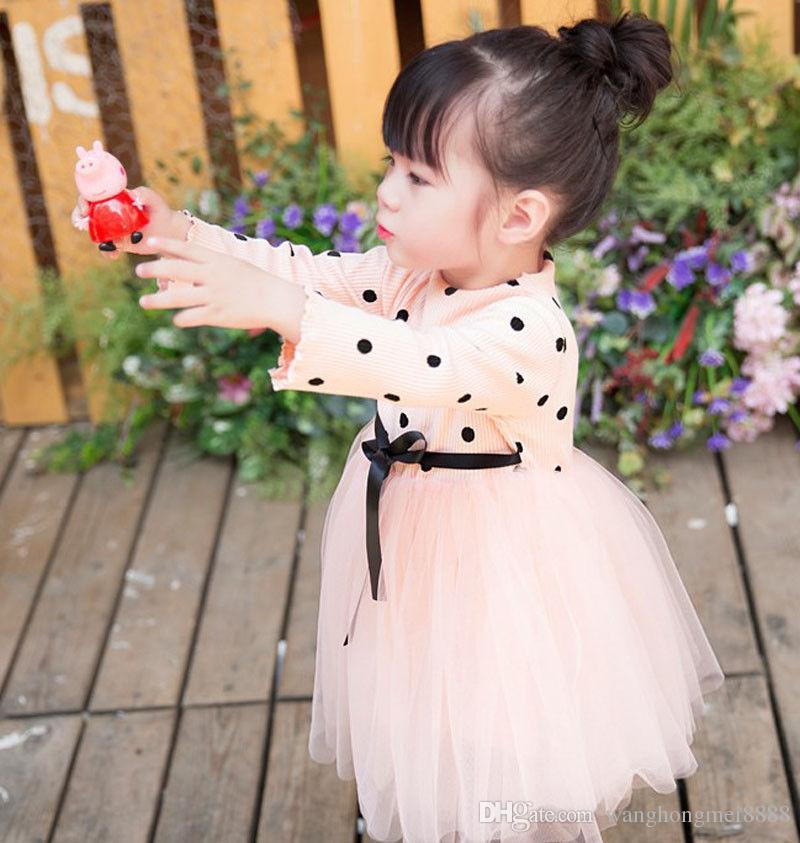 Recém-nascidos bonitos Crianças Babys Meninas Roupas de Manga Longa De Malha O-pescoço de Algodão Caixinhas Dot Lace Tulle Tutu Vestido Miúdo Roupa Da Menina Do Bebê