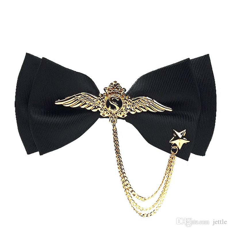 Erkekler Örgün Düğün Gentlemen için Tie İngiliz Moda ilmek Marka Metal kolye Bow Kravatlar