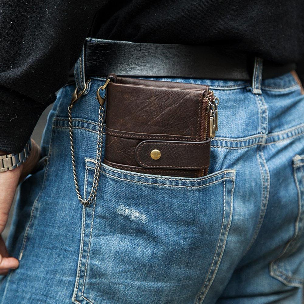 KAVIS 100% raccoglitore del cuoio genuino degli uomini Crazy Horse Portafogli borsa della moneta del corto maschile prezzo Qualità Borsa con catena Walet Piccolo