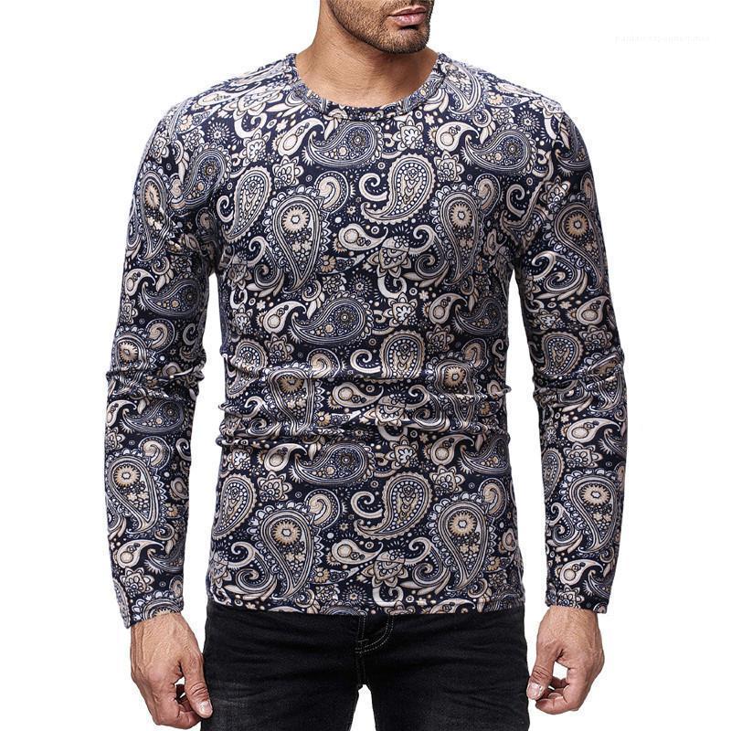 Tişörtleri Moda Ince Sonbahar Ekip Boyun Erkek Tees Casual Erkek Giyim Yaprakları Baskı Erkek Tasarımcı Uzun Kollu