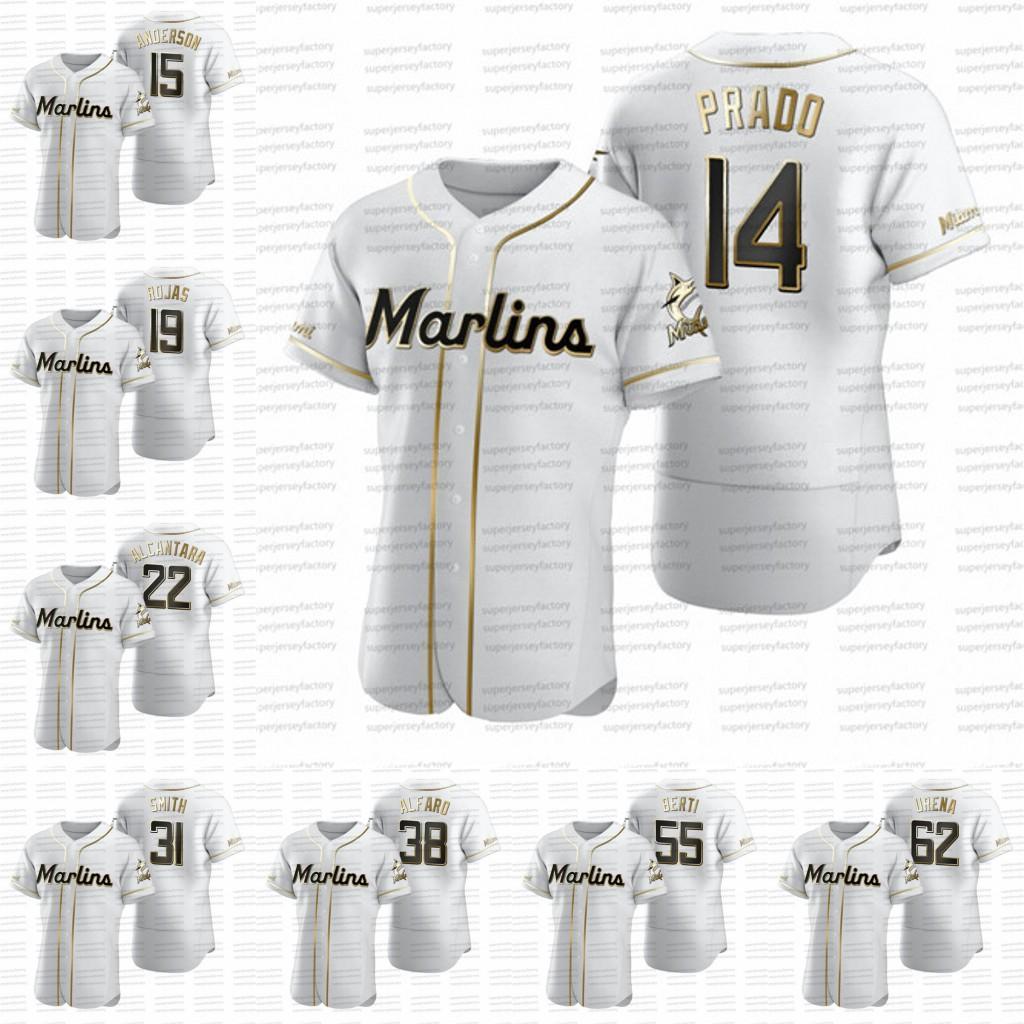 Martin Prado 2020 Golden Edition baseball jerseys Brian Anderson Miguel Rojas Sandy Alcantara Jorge Alfaro Lewis Brinson Jarlin Garcia