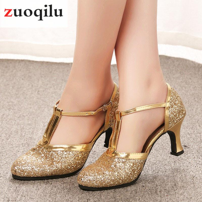 Sapatos de salto alto de ouro Mulheres Sapatos 2019 Bombas Mulheres Sapatos de Dança Latina Sapatos de Salto Baixo 5 CM Festa de Casamento Feminino talon femme