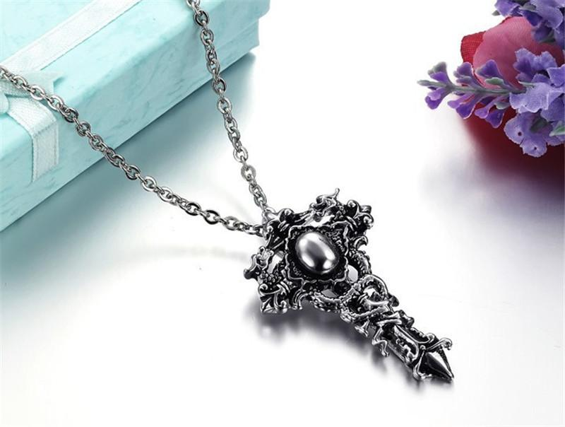 Dragon Cross Necklaces Hip Hop Street Dance Men's Pendants Outdoor Nightclub Party Hipster Must Accessories Free Shipping