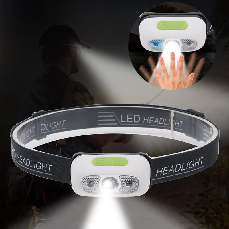 Linterna frontal LED Sensor de movimiento del cuerpo Luz principal USB recargable 4 modos Ciclismo Correr Lámpara principal Linterna para acampar Lámparas de antorcha