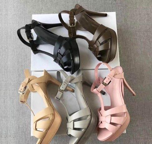 New Tribute Patent/Soft Leather Platform Sandals Women Shoes T-strap High Heels Sandals Lady Shoes Pumps Original Leather #9010