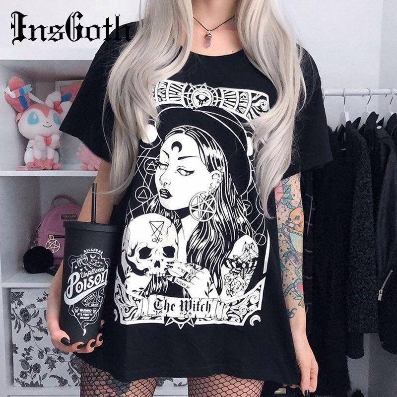 InsGoth Женщины Harajuku Черных Сыпучие футболки Gothic Witch Printed Grunge Streetwear Женской Сыпучая футболка Мода Эстетической майка T200108
