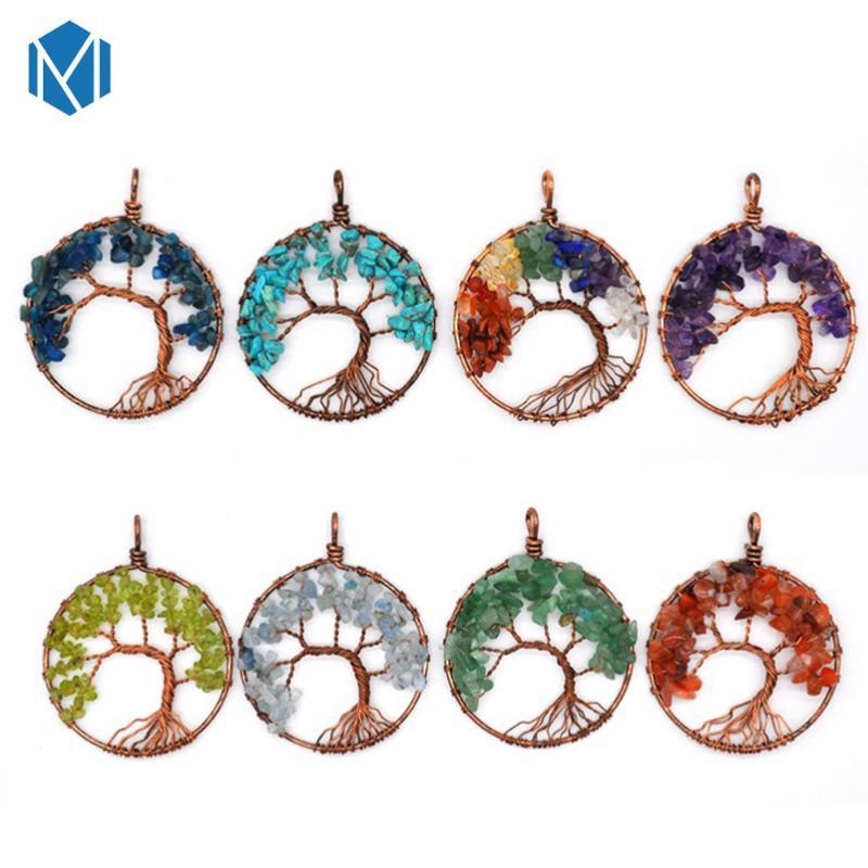 M MISM nouvel arbre de vie ronde en cristal Collier Petit pendentif en or Couleurs Argent Bijoux Collier Cadeaux élégant Bijoux Femmes