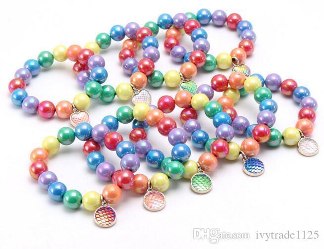 Seg 12 estilos niños joyería de la pulsera colorida del corazón perlas sirena encantos Círculo pulsera linda pulsera Diseño princesa para el regalo de la joyería chica