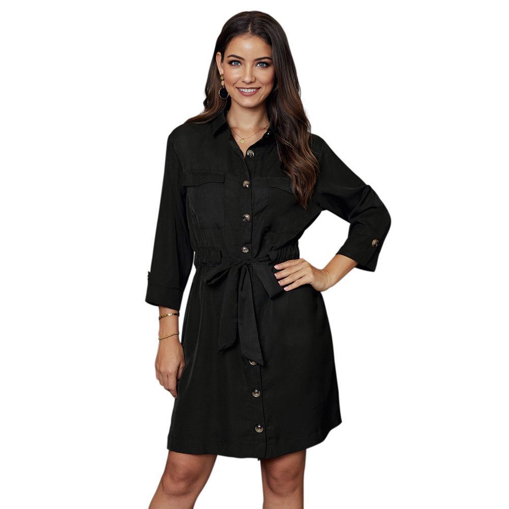 Yeni Sınır Ötesi Gömlek Elbise Kadın yaşında Un Yeni Avrupa Ve Amerika-Stil Tek Breasted Uzun Kollu Tie-Bel Dantel-up Diz Boyu skir