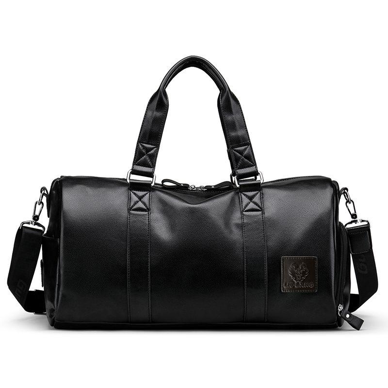 Мужская черная сумка дорожная сумка водонепроницаемый кожаный большой емкости путешествия вещевой многофункциональный тотализатор случайные Crossbody сумки