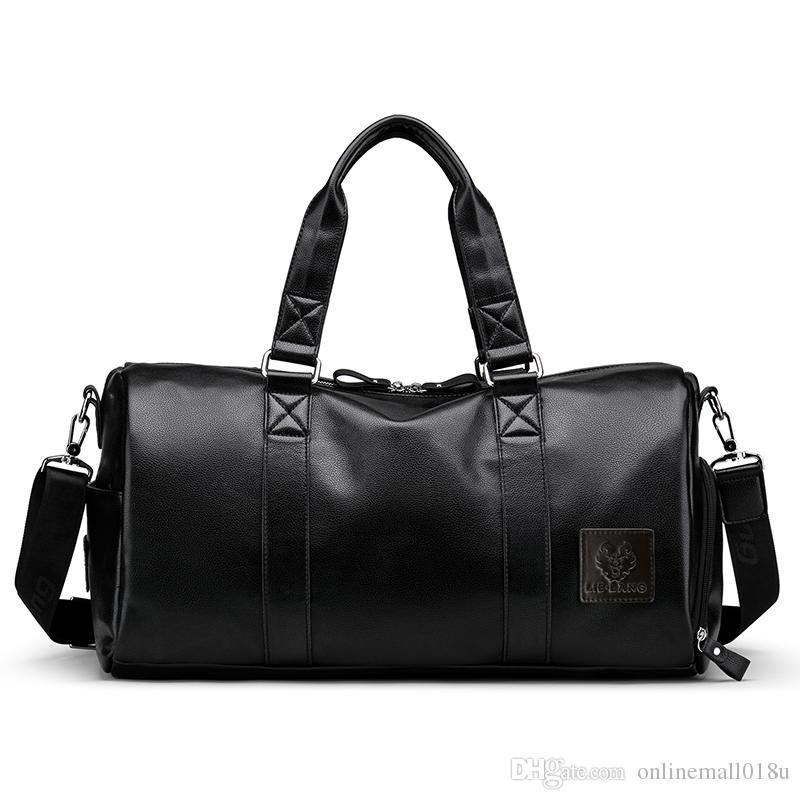 Männer schwarze Handtasche Reisetasche wasserdichte Leder große Kapazität Reise Duffle Multifunktions Tote lässig Crossbody Taschen